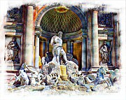 Las Cruces Art Prints - Caesars Fountain Print by Barbara Chichester
