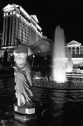 Winged Victory Of Samothrace Prints - Caesars Fountain BW Print by Jenny Hudson