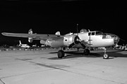 B-25 Bomber Prints - CAF B-25 Maid in the Shade Night Grayscale March 2 2013 Print by Brian Lockett