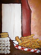 French Fries Painting Posters - Cafe 4 Poster by Katheryn OldShield