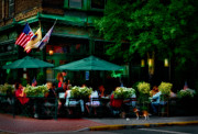 Outdoor Cafes Metal Prints - Cafe Alfresco Metal Print by Susan Candelario