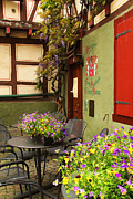 Rhine Valley Posters - Cafe and Flowers in Bacharach Germany Poster by Greg Matchick