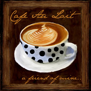 Downtown Cafe Posters - Cafe Au Lait Poster by Lourry Legarde