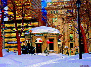Bistro Paintings - Cafe Buongiornio Breakfast Restaurant Dominion Square Rene Levesque Mtl Winter Scene Carole Spandau by Carole Spandau
