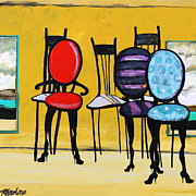 Cafe Art Posters - Cafe Chairs Poster by Karon Melillo DeVega