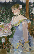 Blue Necklace Posters - Cafe Concert Singer  Poster by Edouard Manet