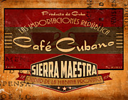 Havana Posters - Cafe Cubano Crate Label Poster by Cinema Photography