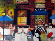 Waiter Painting Prints - Cafe Print by Dalgis Edelson