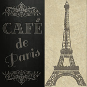 Vintage Eiffel Tower Posters - Cafe de Paris Poster by Jaime Friedman