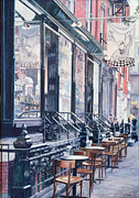 Brick Building Painting Framed Prints - Cafe Della Pace East 7th Street New York City Framed Print by Anthony Butera