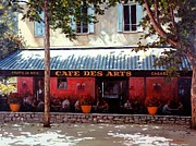 Bistro Painting Acrylic Prints - Cafe des Arts   Acrylic Print by Michael Swanson