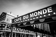 Attractions Photo Posters - Cafe Du Monde Black and White Picture Poster by Paul Velgos