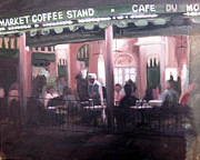 Night Cafe Framed Prints - Cafe Du Monde Framed Print by Erin Rickelton