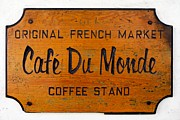 Louisiana Photo Framed Prints - Cafe Du Monde Sign in New Orleans Louisiana Framed Print by Paul Velgos