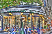 Coffee Drinking Digital Art Prints - Cafe Flore in Summer Print by Matthew Bamberg