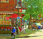 Sandwich Paintings - Cafe Grazie Mille Sandwich Shop Fine Place To Cool Off Montreal Summer City Scene Carole Spandau by Carole Spandau