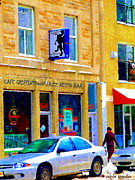 Bistro Paintings - Cafe Griffintown Bistro Resto Jazz Bar Historic St Henri District Montreal City Scene Carole Spandau by Carole Spandau