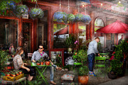 Urban Scenes Art - Cafe - Hoboken NJ - A day out  by Mike Savad