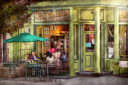 Umbrellas Metal Prints - Cafe - Hoboken NJ - Empire Coffee and Tea Metal Print by Mike Savad