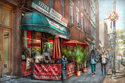 Italian Window Prints - Cafe - Hoboken NJ - Vitos Italian Deli  Print by Mike Savad