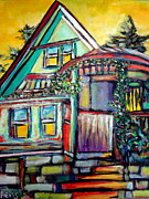 Vivid Colour Drawings Framed Prints - Cafe in Revelsoke BC Canada Framed Print by Aeris Osborne