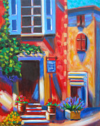 Bistro Paintings - Cafe in Roussillon France  by Susi Franco