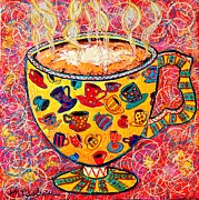 Red And White Polka Dot Prints - Cafe Latte - Coffee Cup With Colorful Coffee Cups Some Pink And Bubbles  Print by Ana Maria Edulescu
