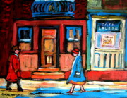 Resto Bars Paintings - Cafe Laurier Montreal by Carole Spandau