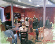 Red Band Painting Originals - Cafe Music by Erin Rickelton