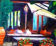 Oil Lamp Originals - Cafe Scene by Therese Alcorn