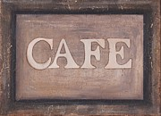 Gourmet Art Paintings - Cafe Shop Sign by Barbara St Jean