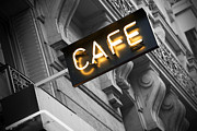 Night Cafe Photo Prints - Cafe sign Print by Chevy Fleet