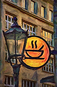 Oil Lamp Mixed Media Prints - Cafe sign Print by Gynt