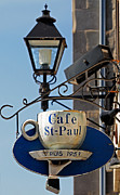 Norman Pogson Framed Prints - Cafe St Paul Sign Montreal Framed Print by Norman Pogson