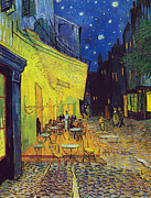 Arles Painting Framed Prints - Cafe Terrace Arles Framed Print by Vincent van Gogh