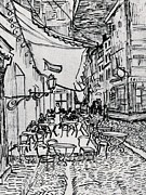 Cafe Terrace Drawings Framed Prints - Cafe Terrace at Night - Drawing Framed Print by Vincent van Gogh