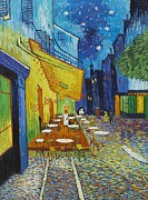 At Work Digital Art Prints - Cafe Terrace at Night Print by Nomad Art And  Design