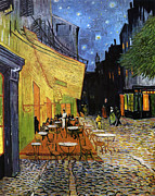 Cafe Terrace Mixed Media Posters - Cafe Terrace at Night Reproduction Art Work Poster by Vincent van Gogh