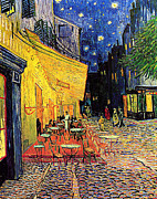 Place Du Forum Framed Prints - Cafe Terrace at Night Reproduction Framed Print by Roz Barron Abellera-Vincent Van Gogh