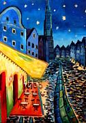 Cafe Terrace In Landshut - Inspired By Van Gogh Print by M Bleichner