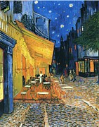 Arles Painting Framed Prints - Cafe Terrace Place du Forum Arles 1888 Framed Print by Vincent Van Gogh