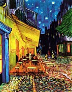 Cafe Terrace Painting Posters - Cafe Terrace Place Du Forum At Night  Poster by Vincent Van Gogh
