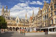 Ypres Prints - Cafes near the Cloth Hall in Ypres town centre Belgium Europe Print by Jon Boyes