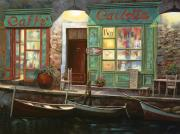 Night Lamp Painting Posters - caffe Carlotta Poster by Guido Borelli