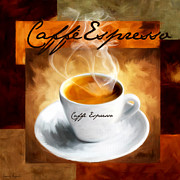 Coffee Themes Posters - Caffe Espresso Poster by Lourry Legarde