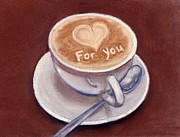 Message Pastels Prints - Caffe Latte Print by Anastasiya Malakhova