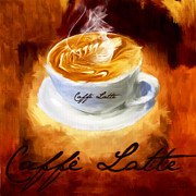 Coffee Themes Posters - Caffe Latte Poster by Lourry Legarde