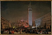 Italian Night Life Prints - Caffi Ippolito, Venice. Carnival Night Print by Everett