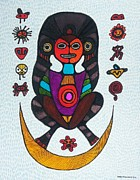 Taino Metal Prints - Caguana Taino Earth Mother Metal Print by Sandra Perez-Ramos