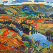 Autumn Vineyards Paintings - Cahors Vineyards  by Katia Weyher